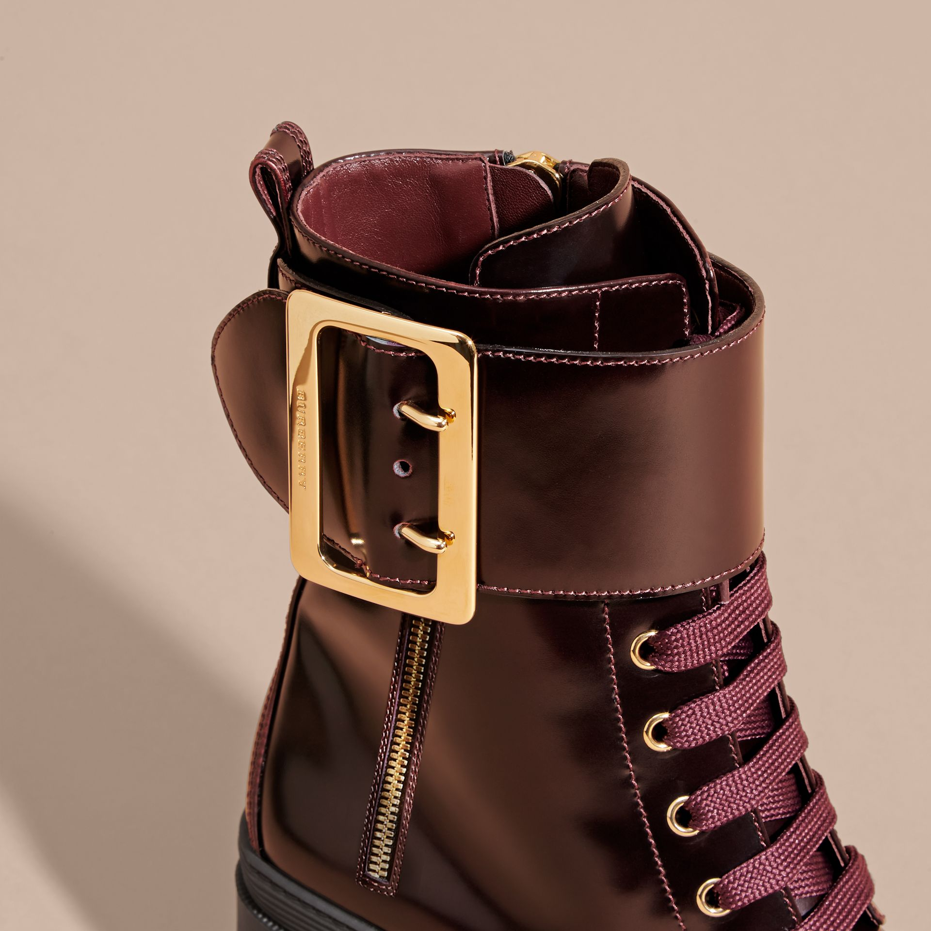 Leather Buckle Detail Boots Bordeaux - gallery image 2
