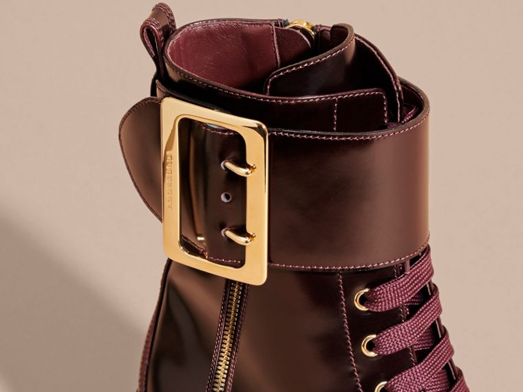 Leather Buckle Detail Boots Bordeaux - cell image 1