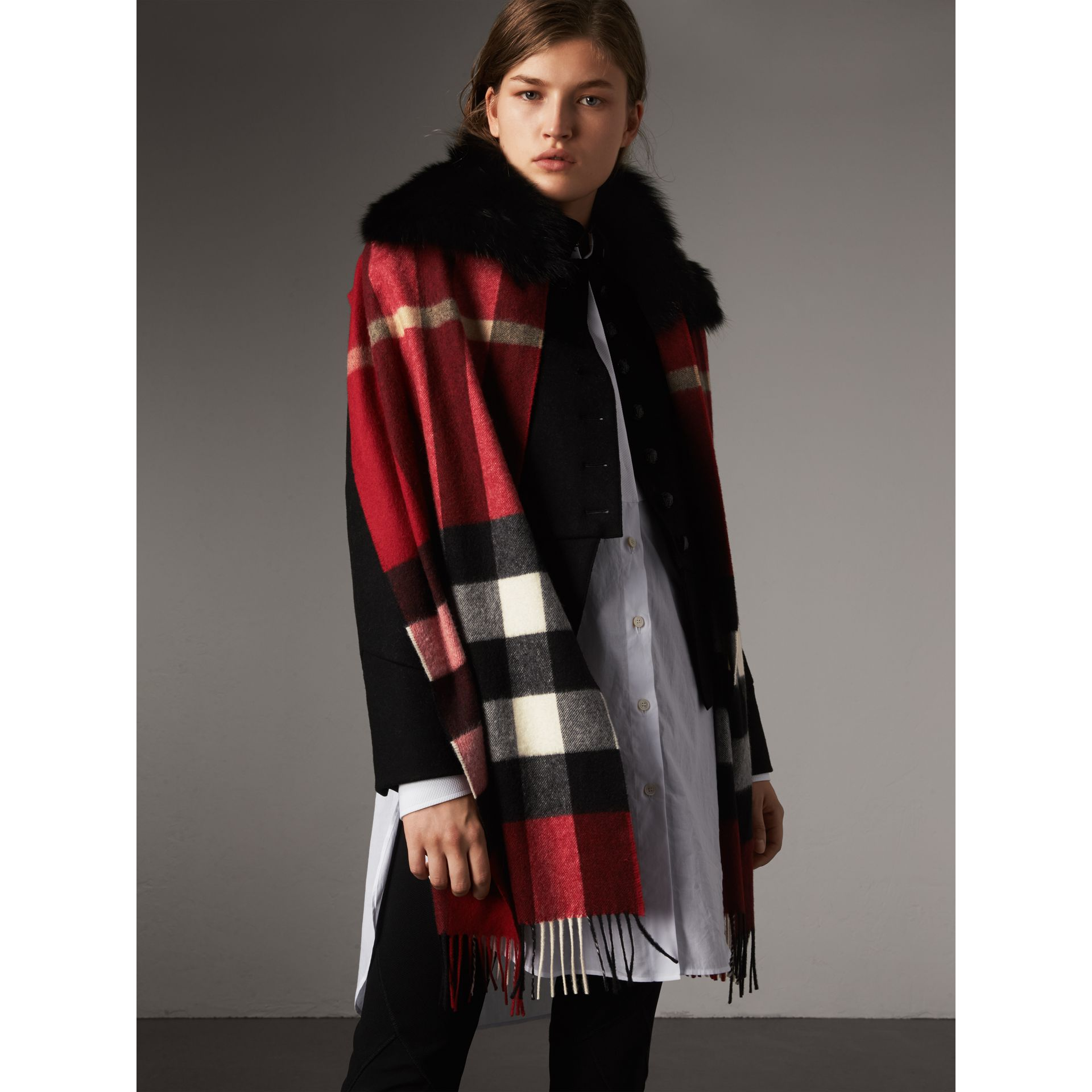 Fox Fur Trim Check Cashmere Scarf in Parade Red - Women | Burberry - gallery image 3