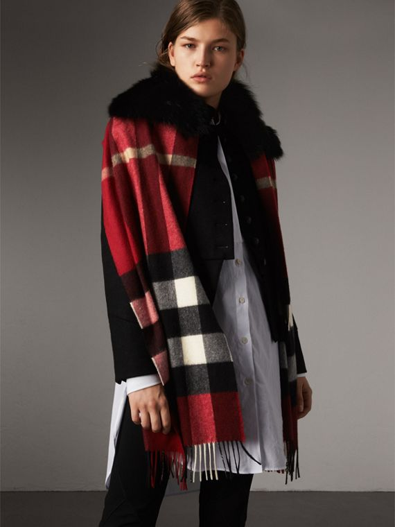 Fox Fur Trim Check Cashmere Scarf in Parade Red - Women | Burberry - cell image 3
