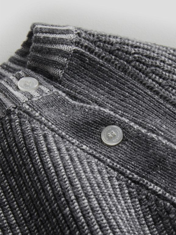 Rib Knit Merino Wool Sweater in Grey Melange - Children | Burberry - cell image 1
