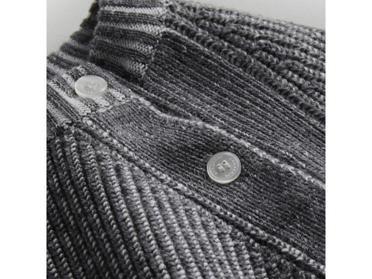 Rib Knit Merino Wool Sweater in Grey Melange | Burberry - cell image 1