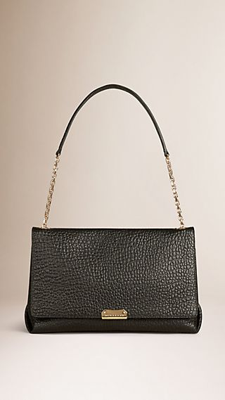 Large Signature Grain Leather Shoulder Bag