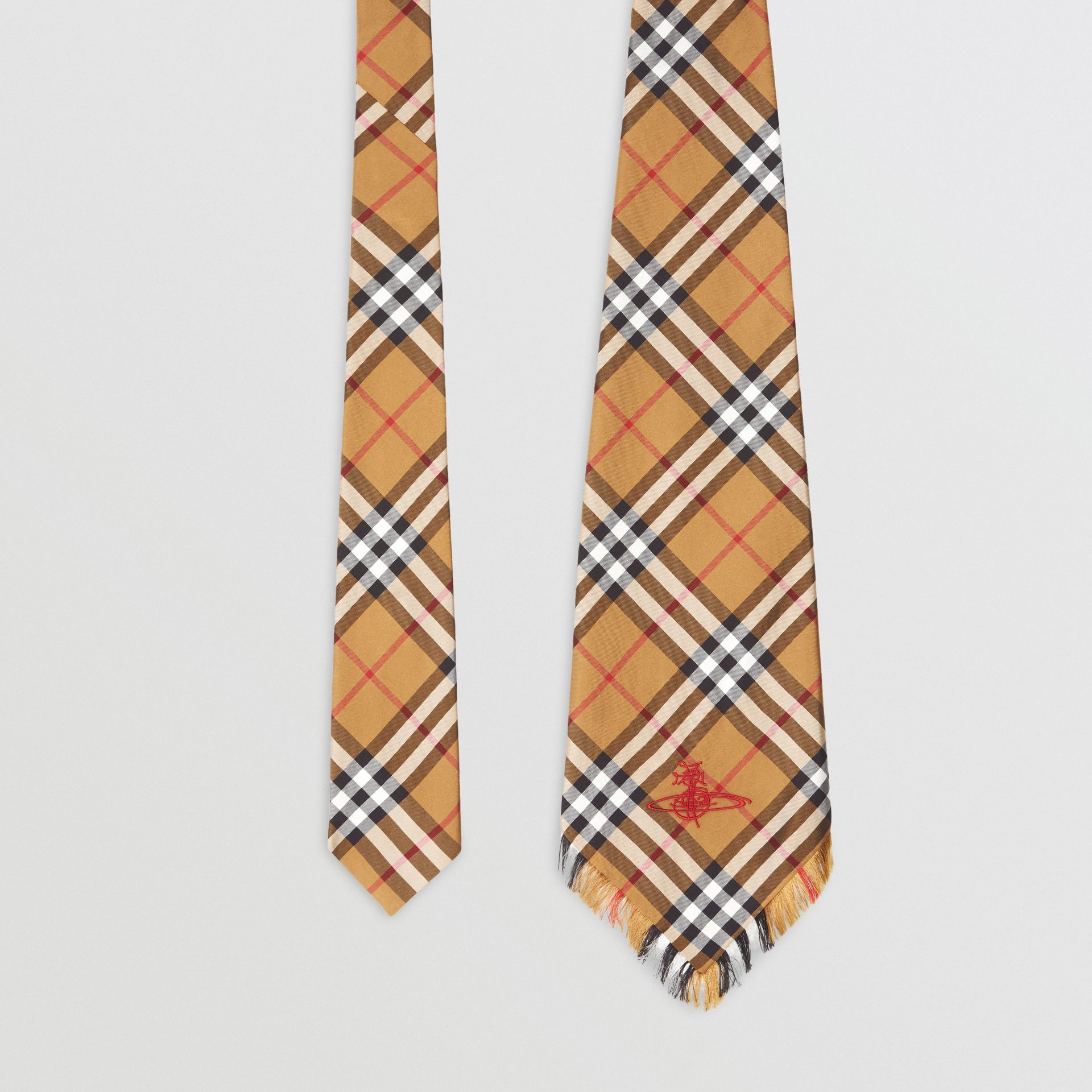 Wide Cut Vintage Check Silk Tie in Antique Yellow | Burberry United Kingdom - gallery image 0