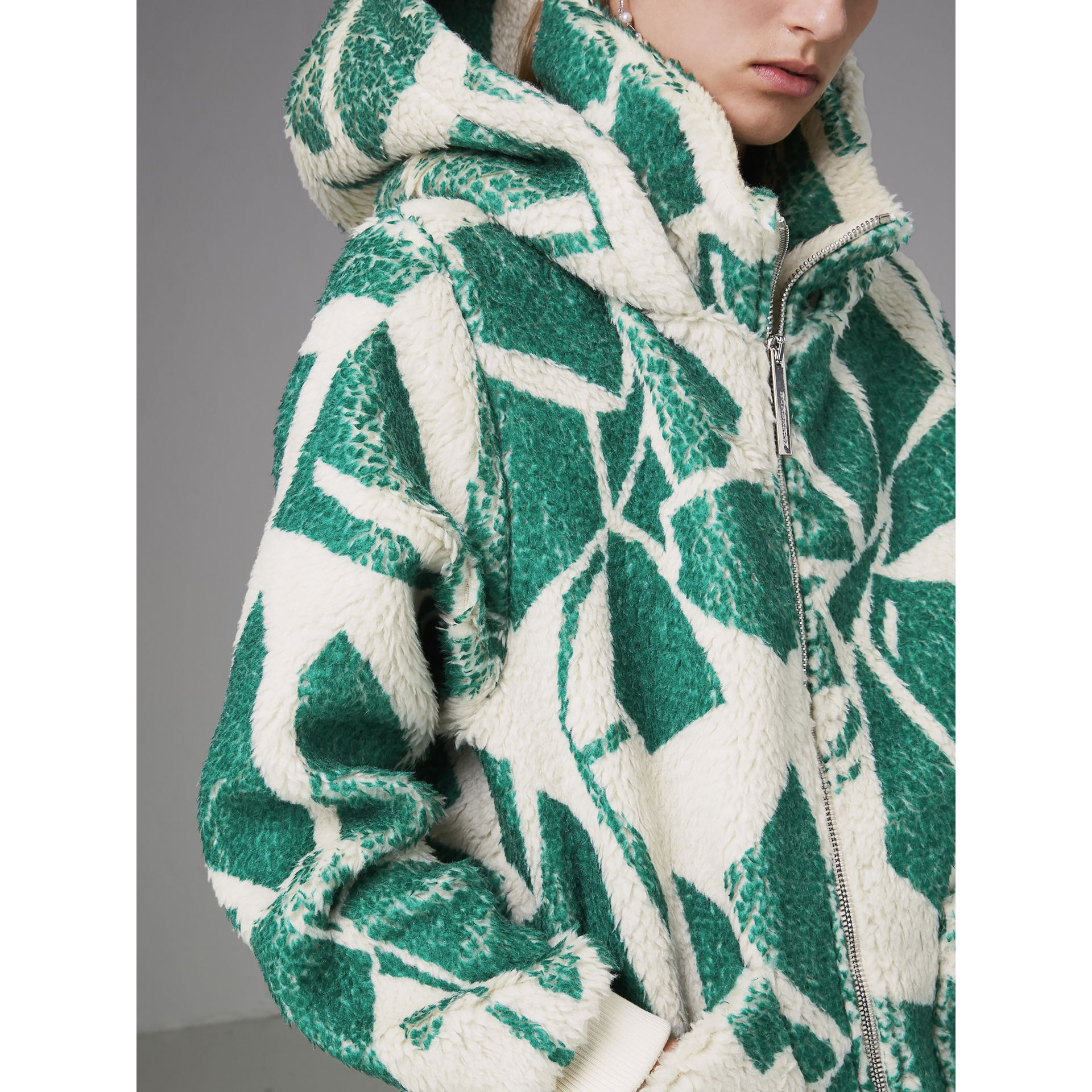 Floral Print Cashmere-silk Fleece Zipped Hoodie in Forest Green - Women | Burberry Australia - gallery image 1