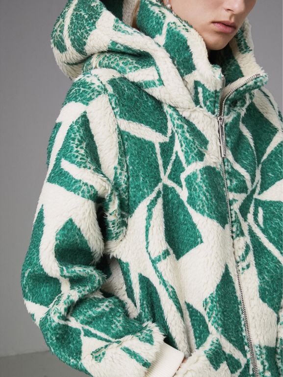 Floral Print Cashmere-silk Fleece Zipped Hoodie in Forest Green - Women | Burberry Australia - cell image 1