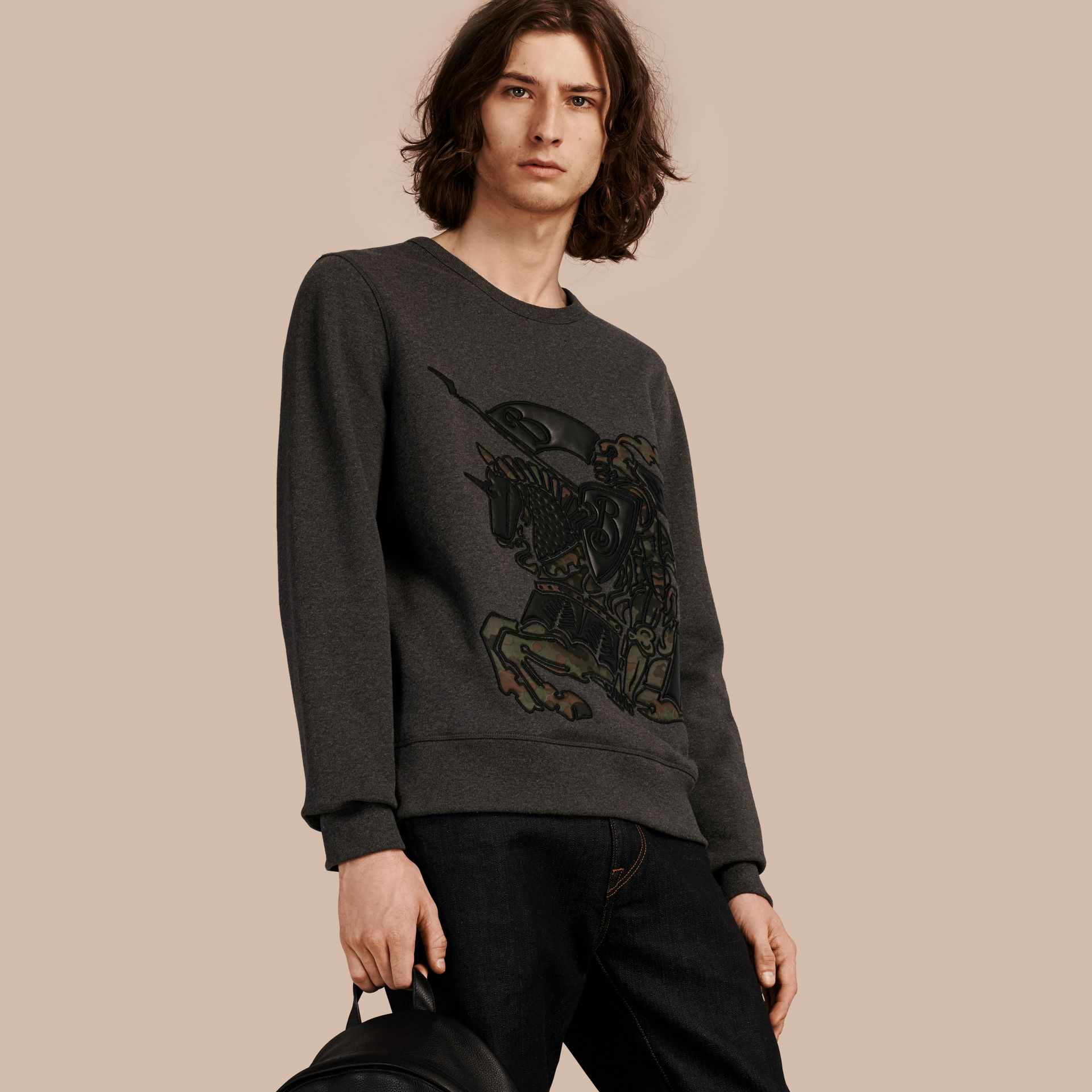 Charcoal melange Equestrian Knight Motif Cotton and Lambskin Sweatshirt - gallery image 1