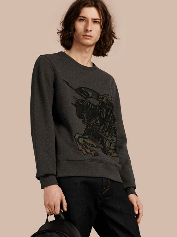 Equestrian Knight Motif Cotton and Lambskin Sweatshirt