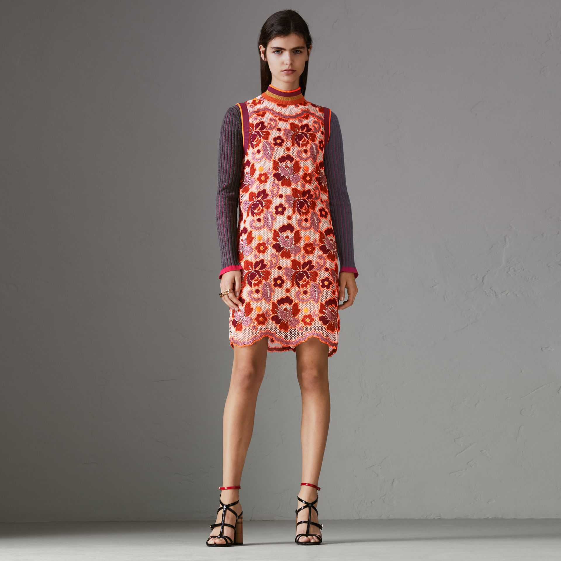 Floral Crochet Shift Dress in Bright Orange - Women | Burberry United Kingdom - gallery image 0