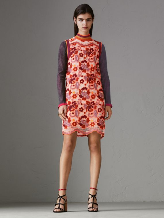 Floral Crochet Shift Dress in Bright Orange