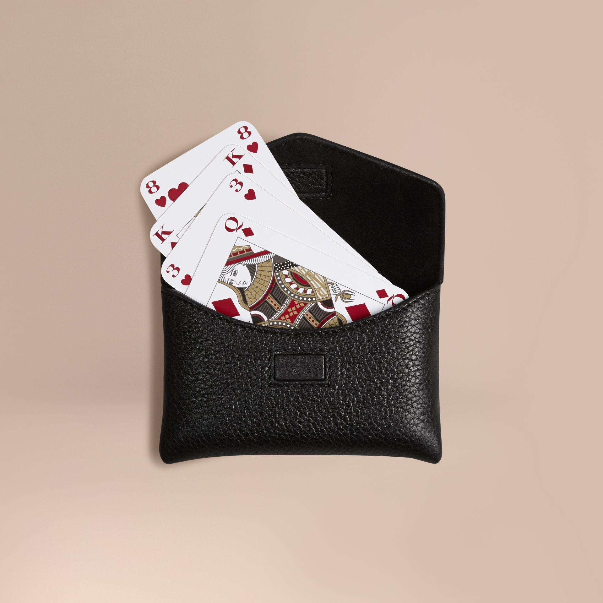 Grainy Leather Playing Card Case in Black - gallery image 1