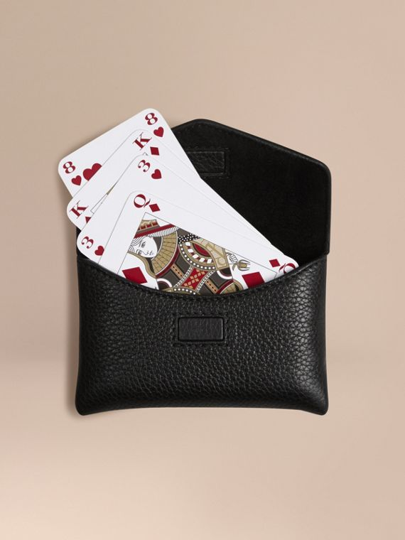 Grainy Leather Playing Card Case Black