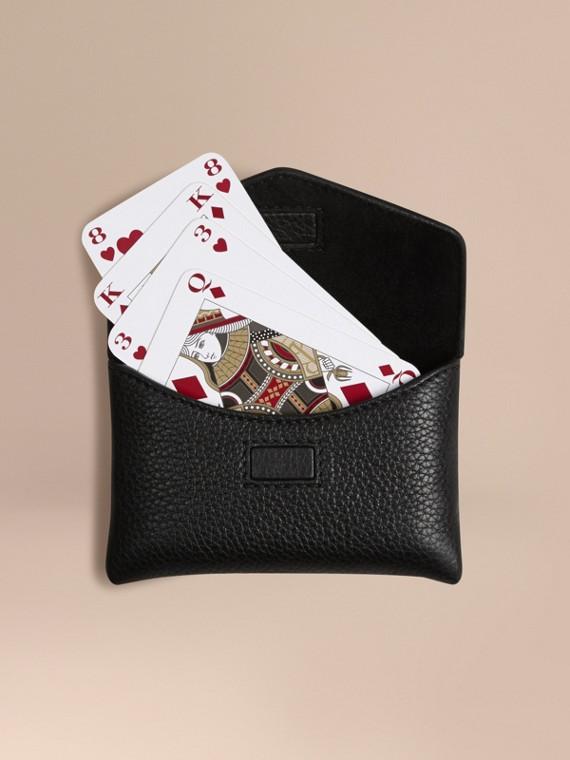 粒面皮革撲克牌卡片夾