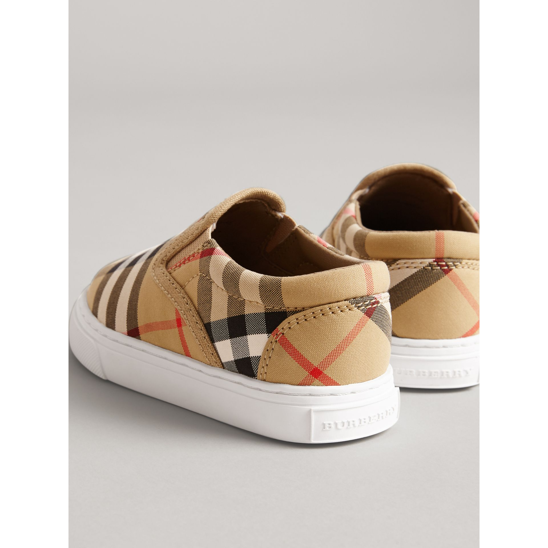 Vintage Check and Leather Slip-on Sneakers in Antique Yellow/optic White - Children | Burberry United Kingdom - gallery image 2