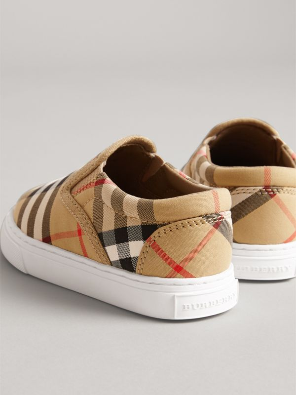 Vintage Check and Leather Slip-on Sneakers in Antique Yellow/optic White - Children | Burberry - cell image 2