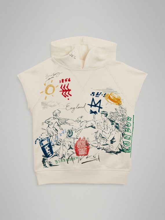 Adventure Print Cotton Sleeveless Hoodie in Chalk White