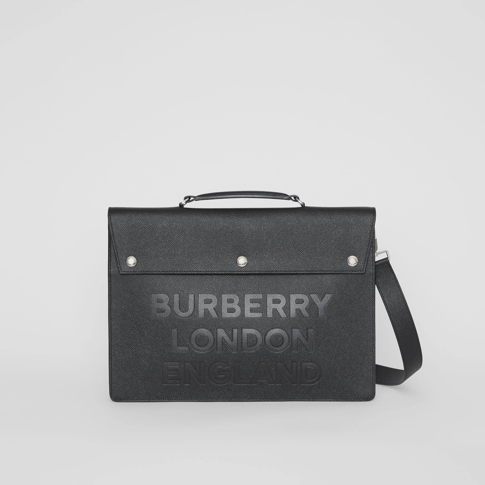 Porte-documents en cuir à triple pression avec logo (Noir) | Burberry - photo de la galerie 0