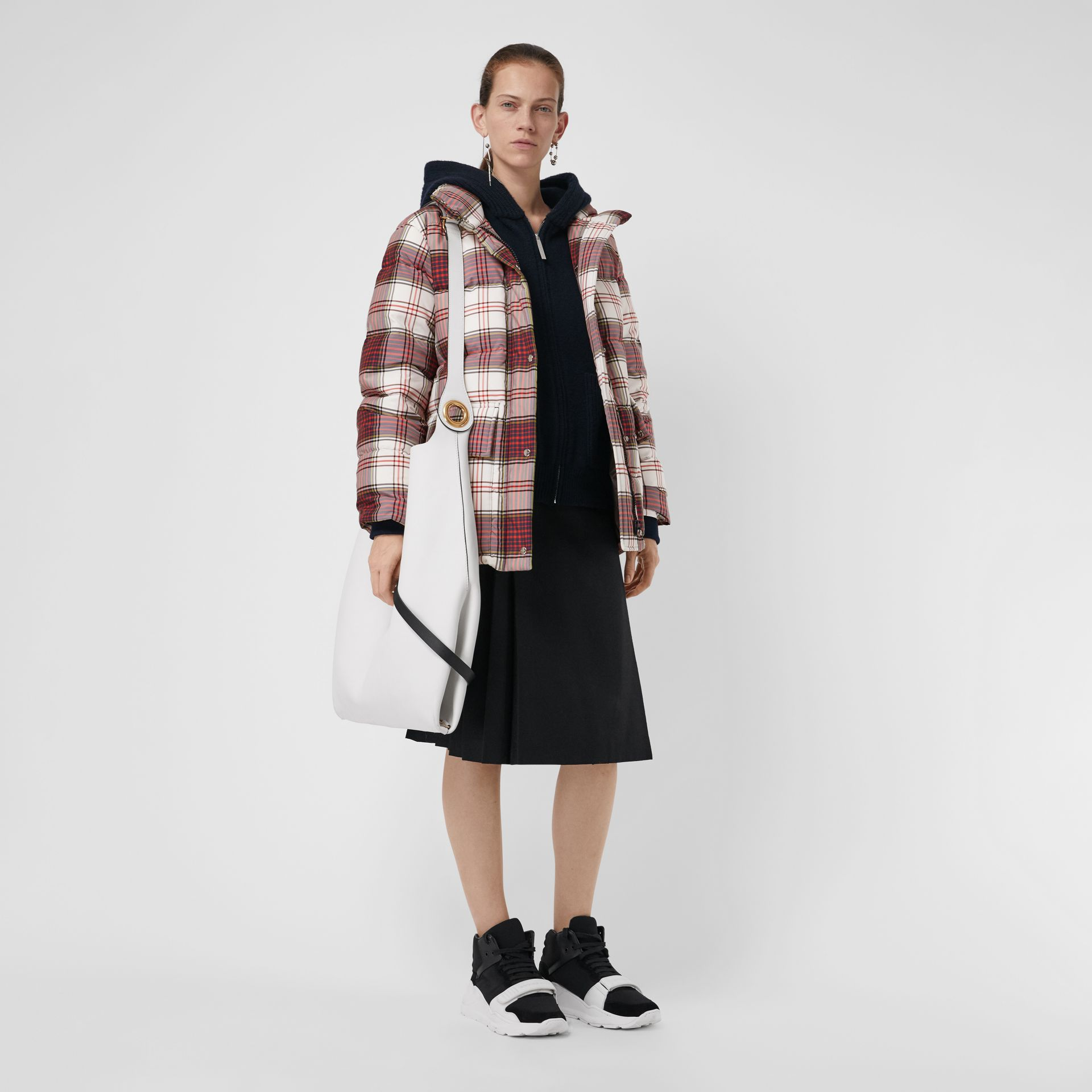 Check Down-filled Puffer Jacket in Off White - Women | Burberry - gallery image 0