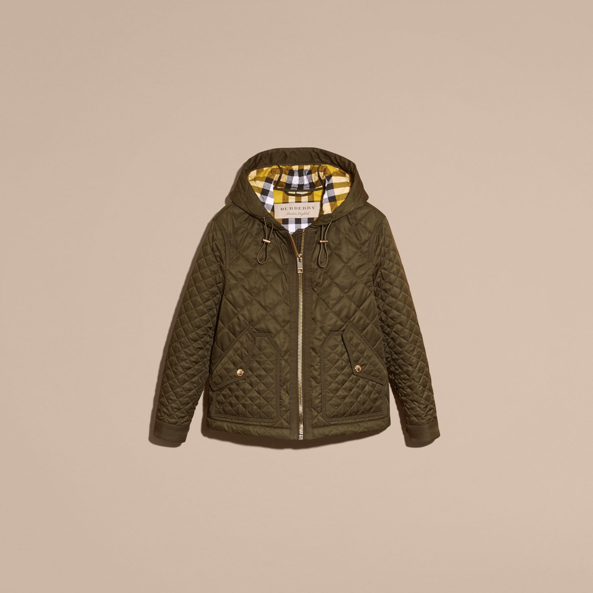 Diamond Quilted Hooded Jacket with Check Lining Dark Olive - gallery image 4