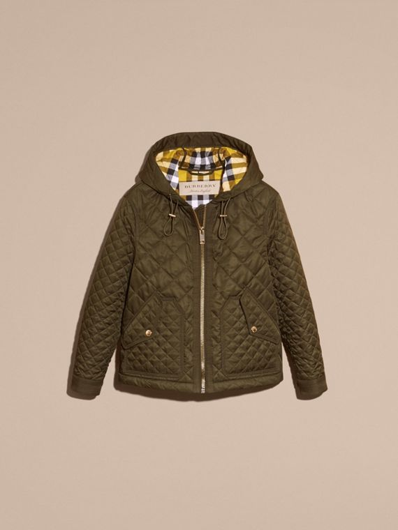 Diamond Quilted Hooded Jacket with Check Lining Dark Olive - cell image 3