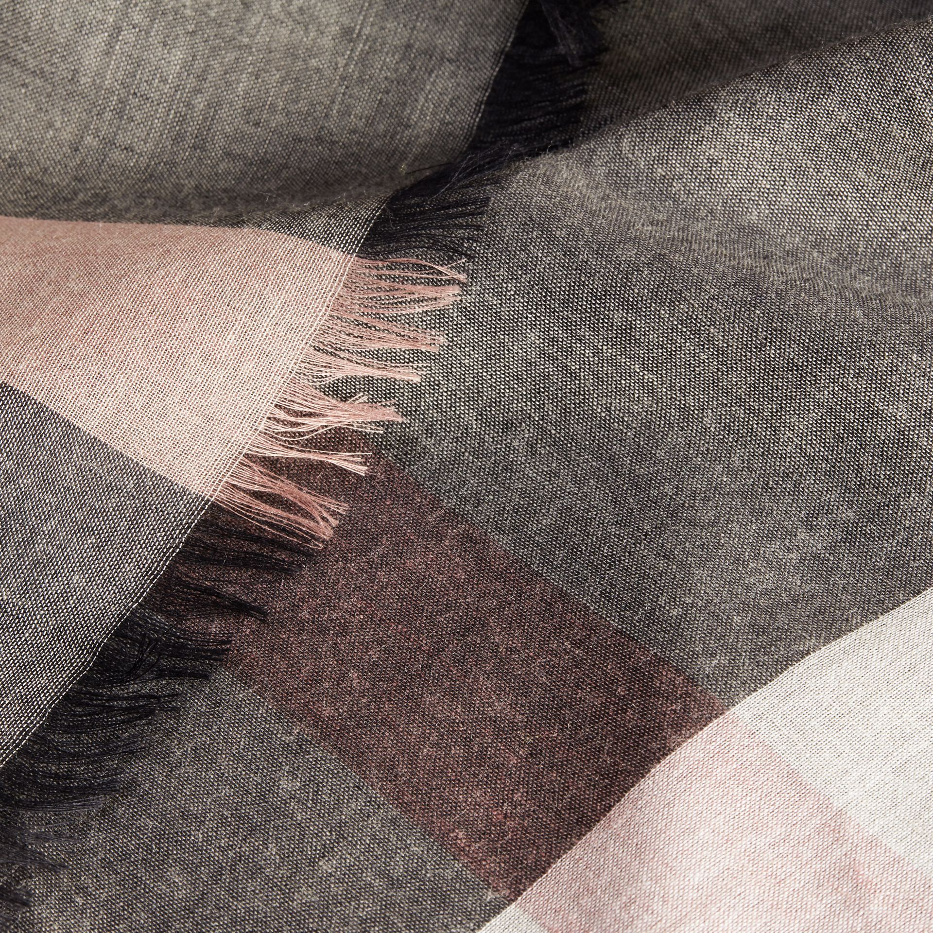 Check Modal and Wool Square Scarf in Dark Trench - Women | Burberry United Kingdom - gallery image 2