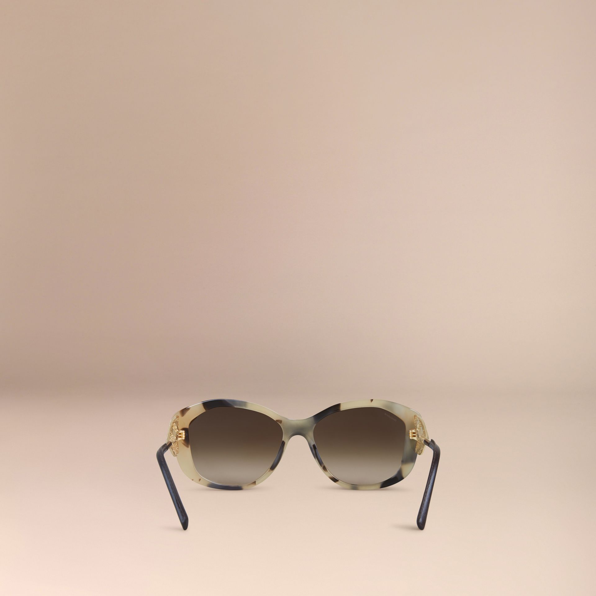 Mid tone horn Gabardine Lace Collection Square Frame Sunglasses Mid Tone Horn - gallery image 3