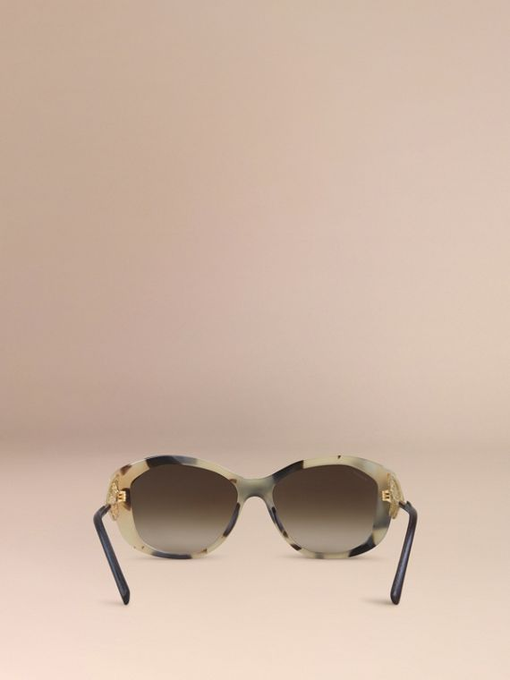 Gabardine Lace Collection Square Frame Sunglasses in Mid Tone Horn - cell image 2