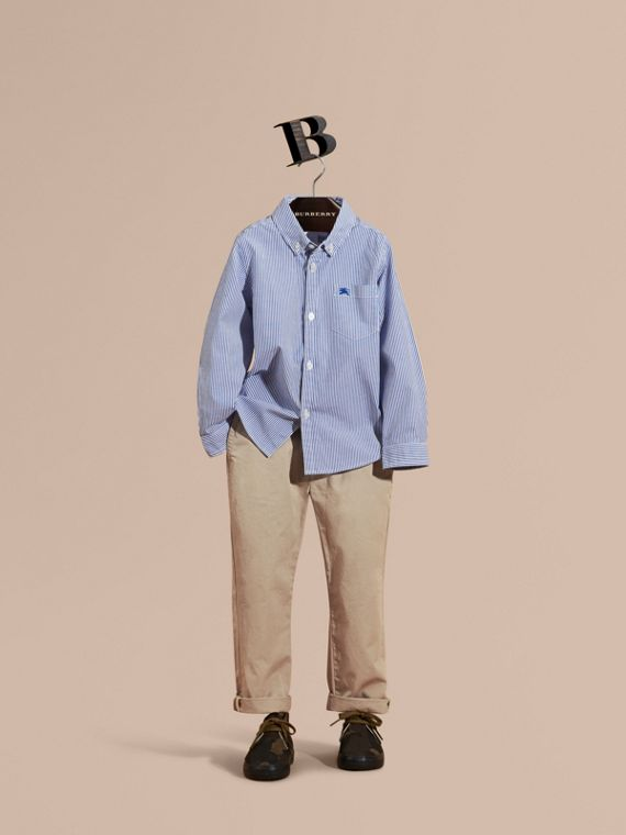 Striped Stretch Cotton Shirt Marine Blue
