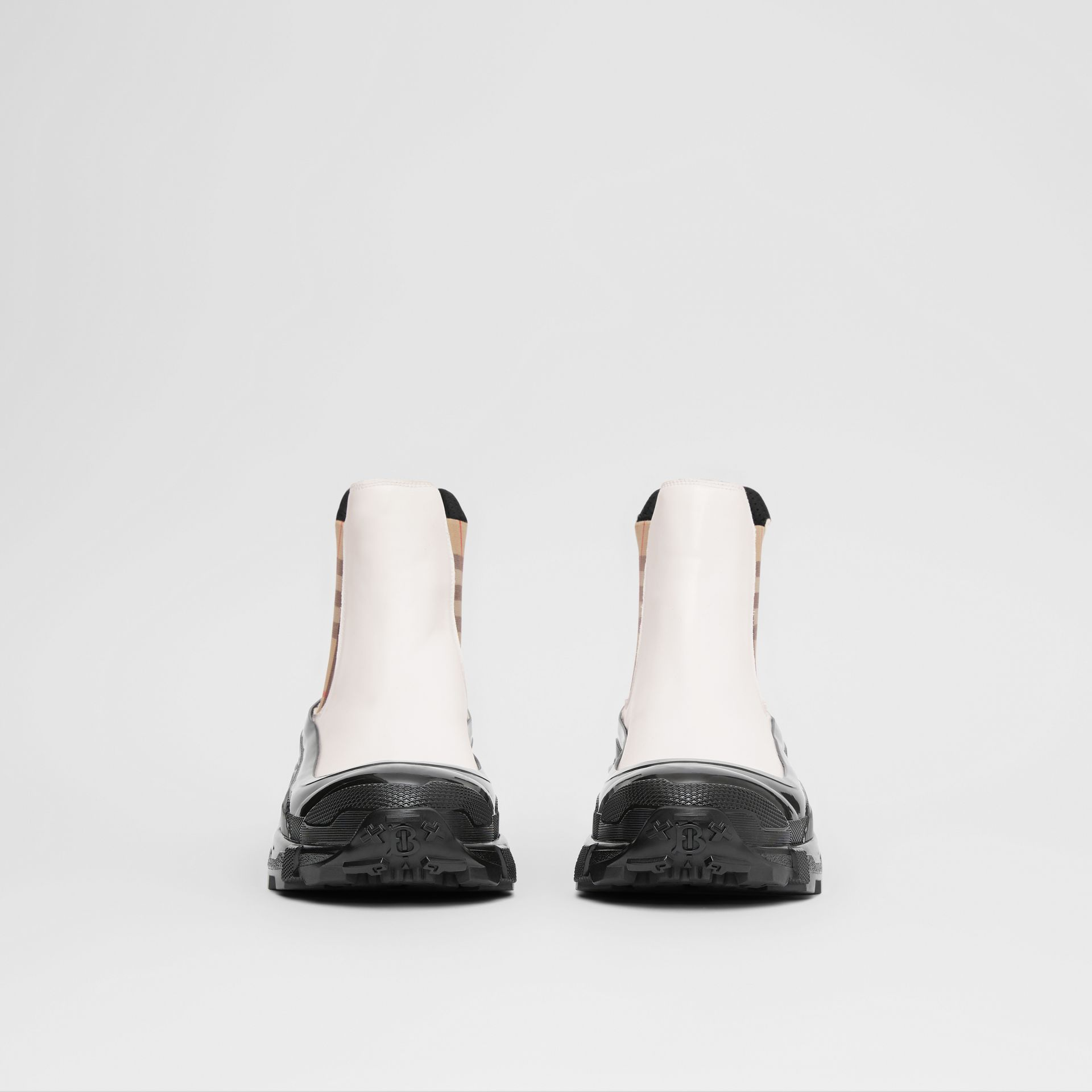 Vintage Check Detail Coated Canvas Chelsea Boots in White - Men | Burberry United Kingdom - gallery image 2