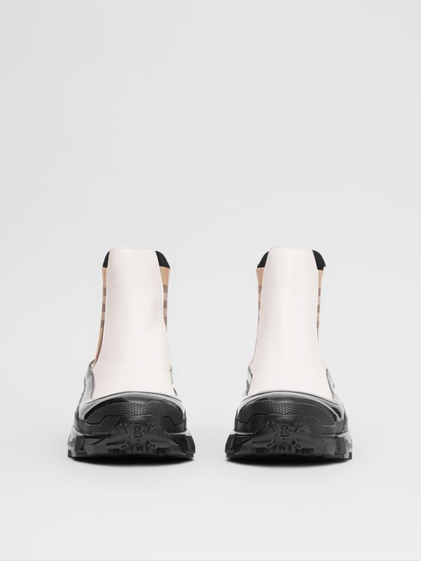 Vintage Check Detail Coated Canvas Chelsea Boots in White - Men | Burberry United Kingdom - cell image 2