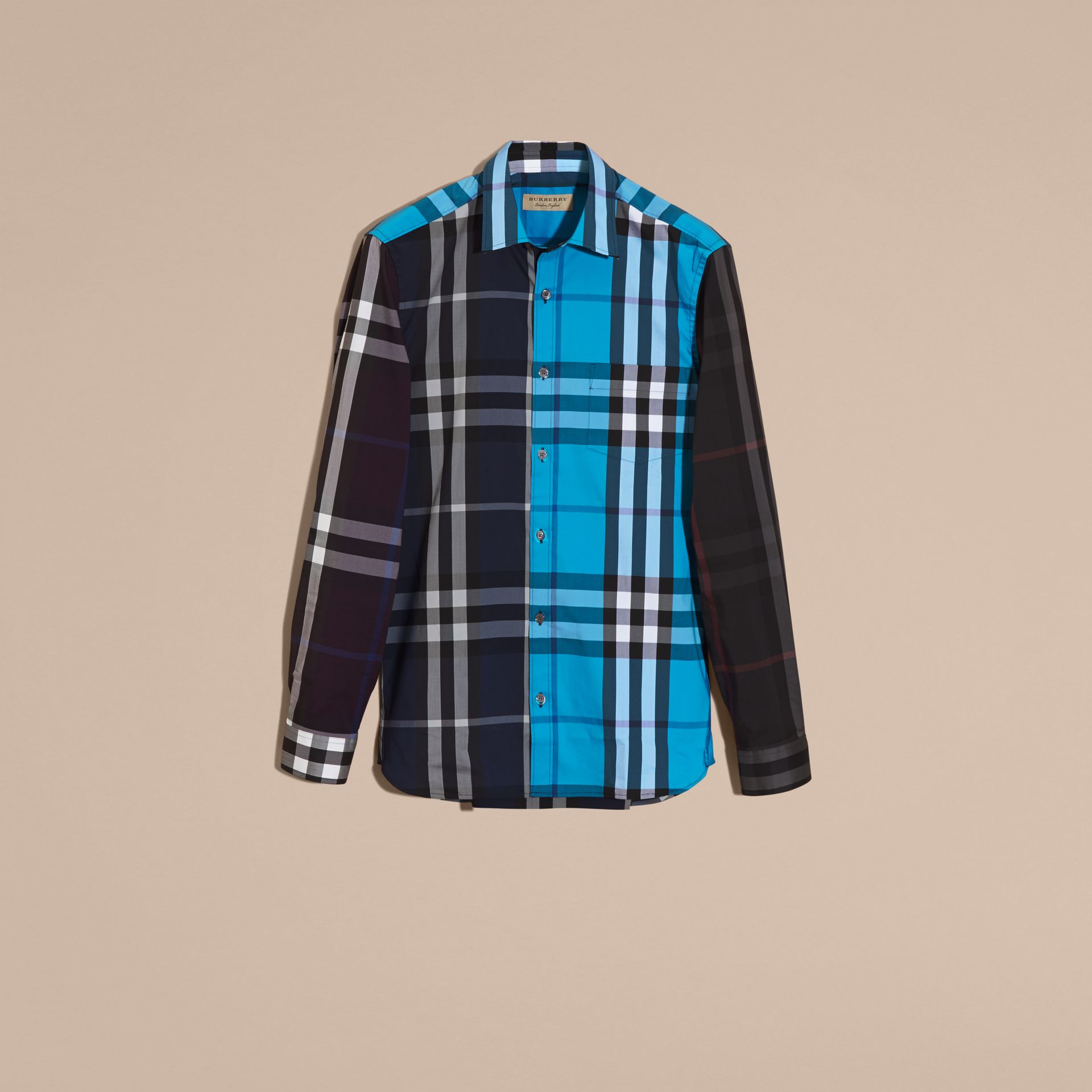 Ink Colour Block Check Cotton Blend Shirt Ink - gallery image 4