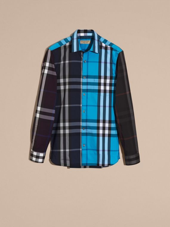 Ink Colour Block Check Cotton Blend Shirt Ink - cell image 3