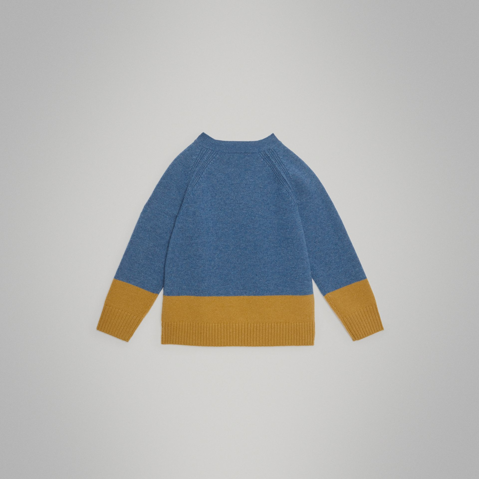 Logo Intarsia Cashmere Sweater in Dusty Blue Melange - Boy | Burberry - gallery image 3