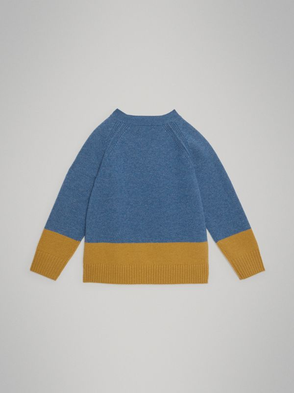 Logo Intarsia Cashmere Sweater in Dusty Blue Melange - Boy | Burberry - cell image 3