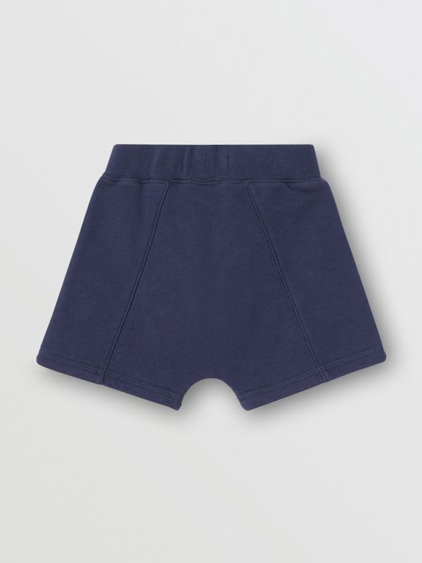 Kingdom Motif Cotton Drawcord Shorts in Slate Blue Melange - Children | Burberry United Kingdom - cell image 3