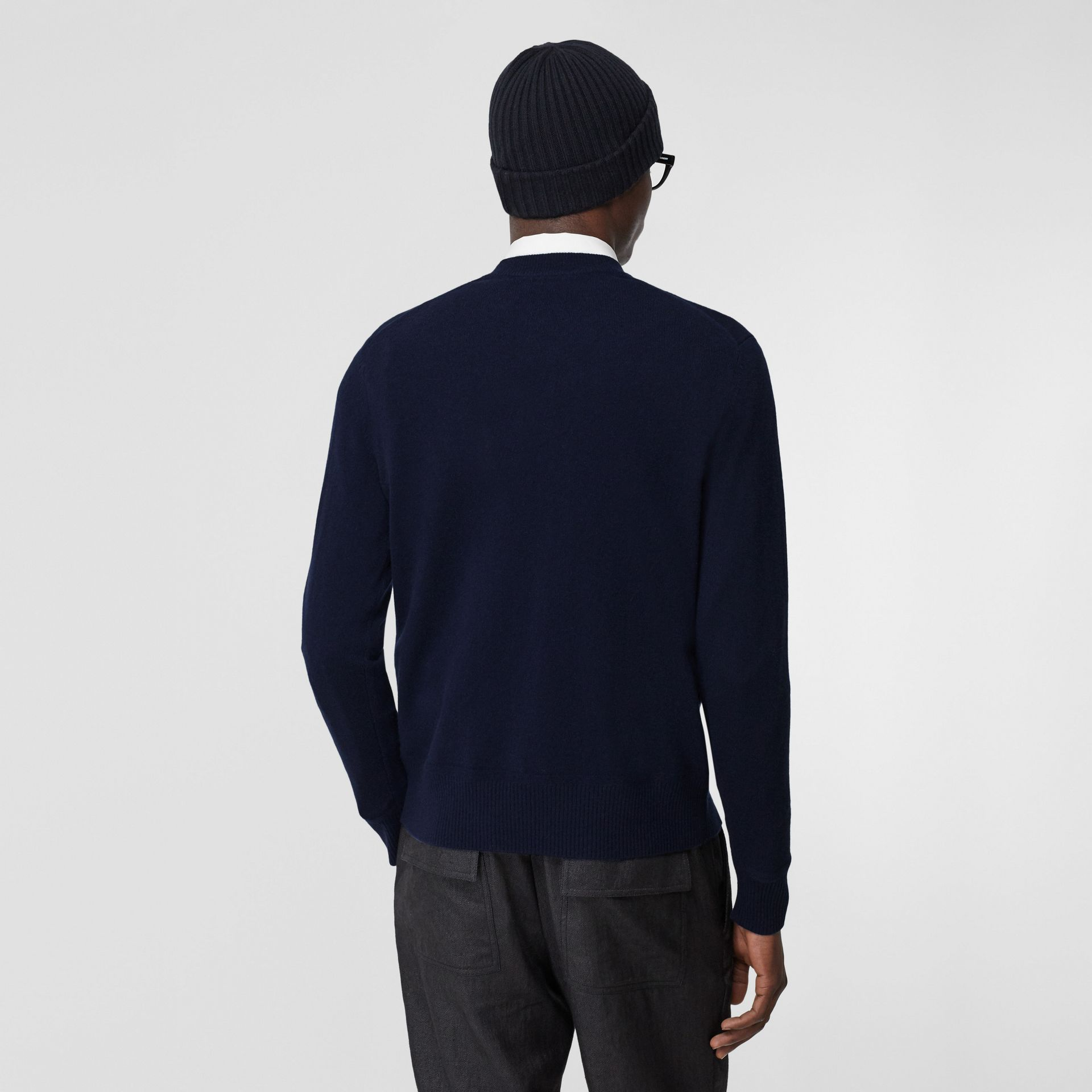 Monogram Motif Cashmere Sweater in Navy - Men | Burberry - gallery image 2