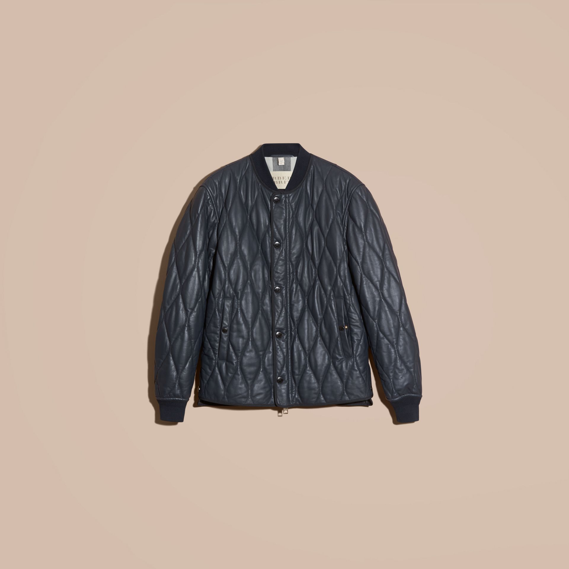 Navy Quilted Lambskin Jacket - gallery image 4