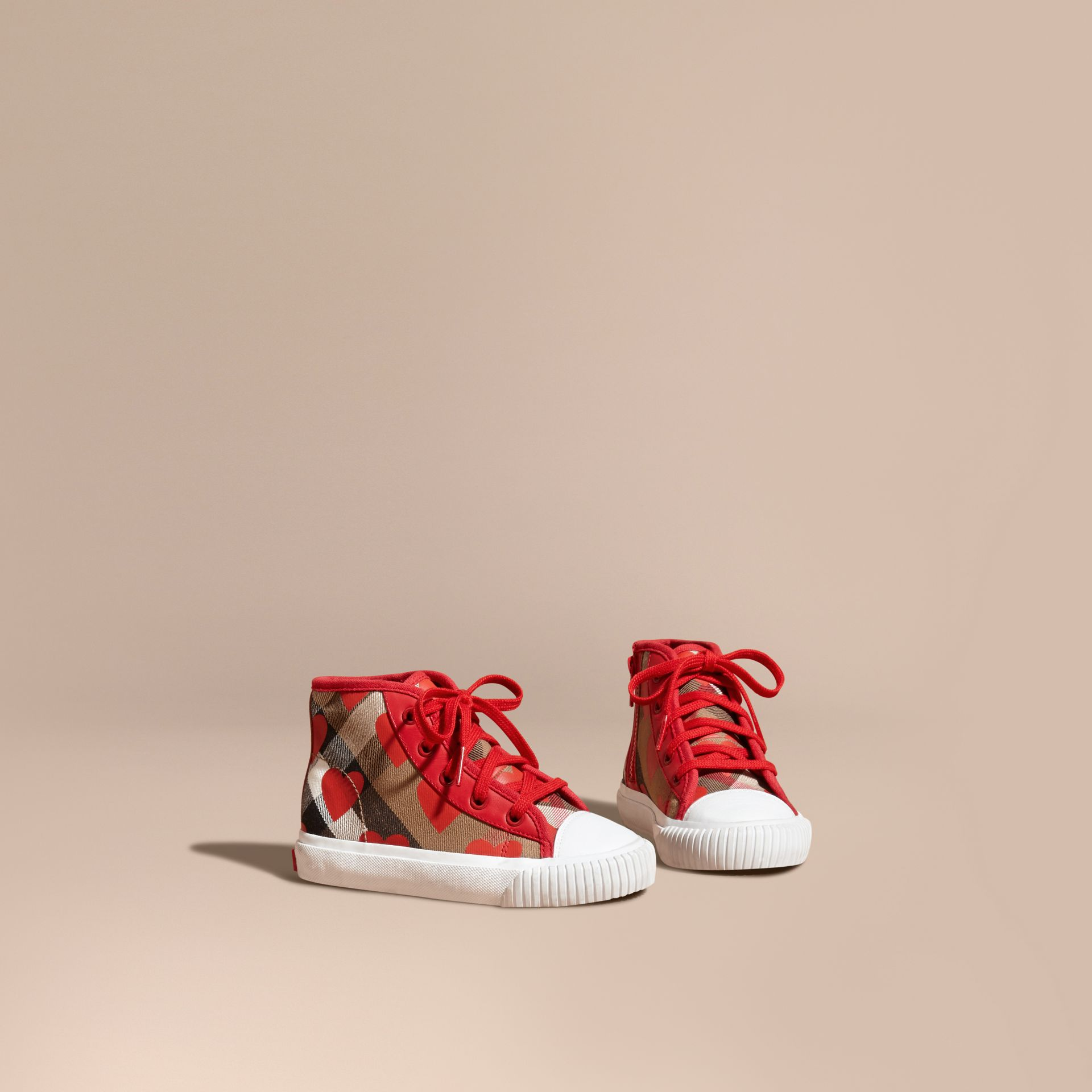 Military red Leather Trim Dot Print Check High-top Trainers Military Red - gallery image 1