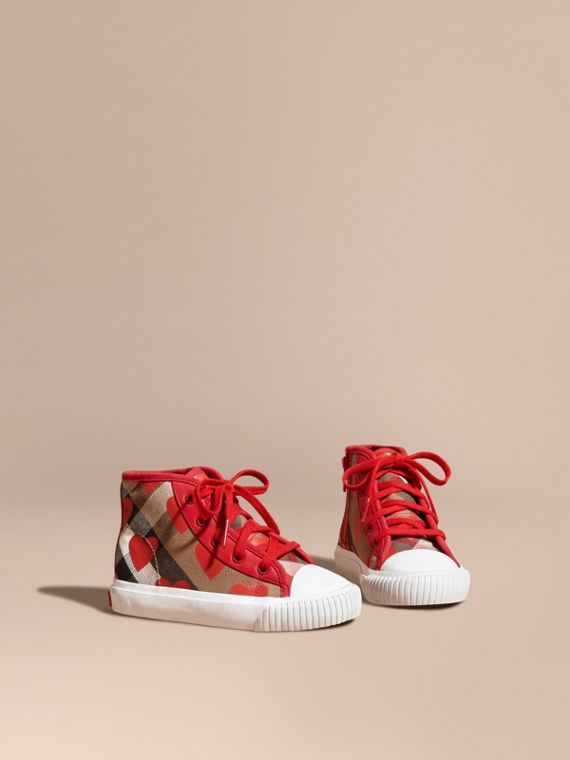 Leather Trim Dot Print Check High-top Trainers Military Red