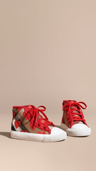 Leather Trim Dot Print Check High-top Trainers