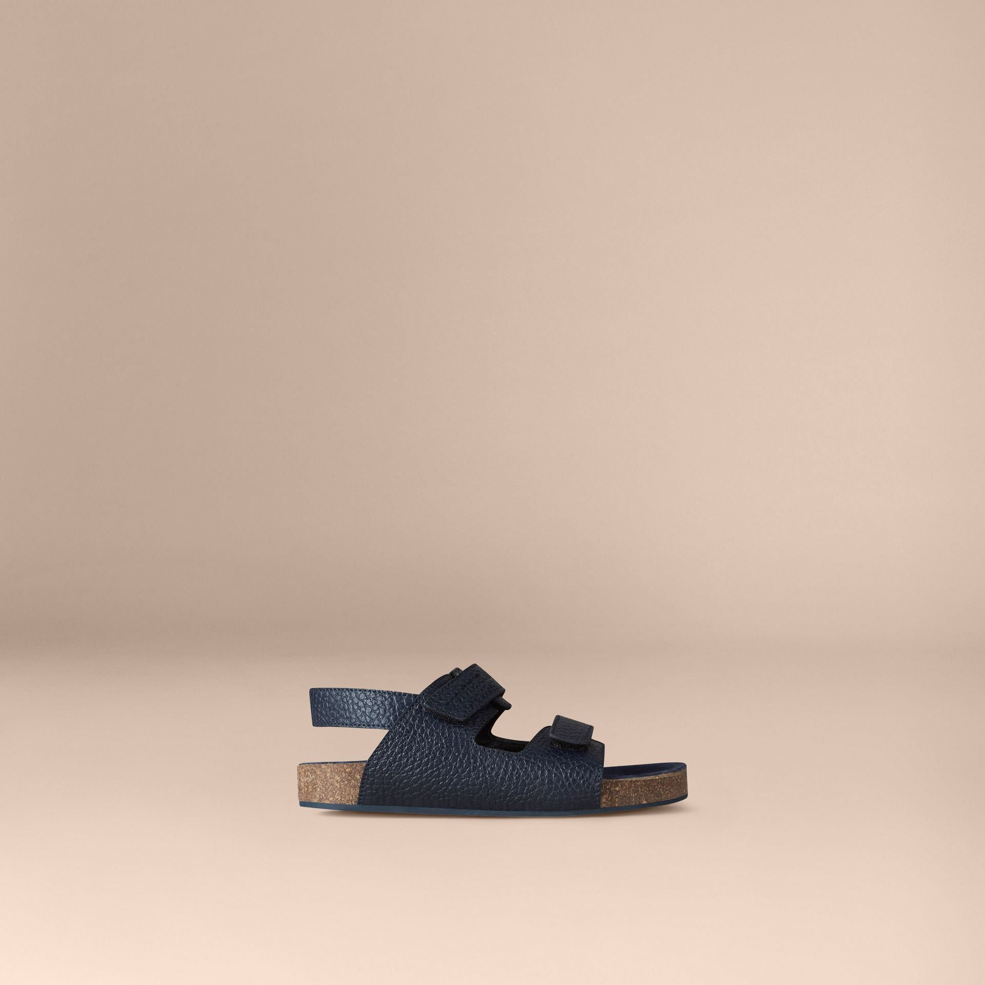 Navy Grainy Leather Sandals - gallery image 1