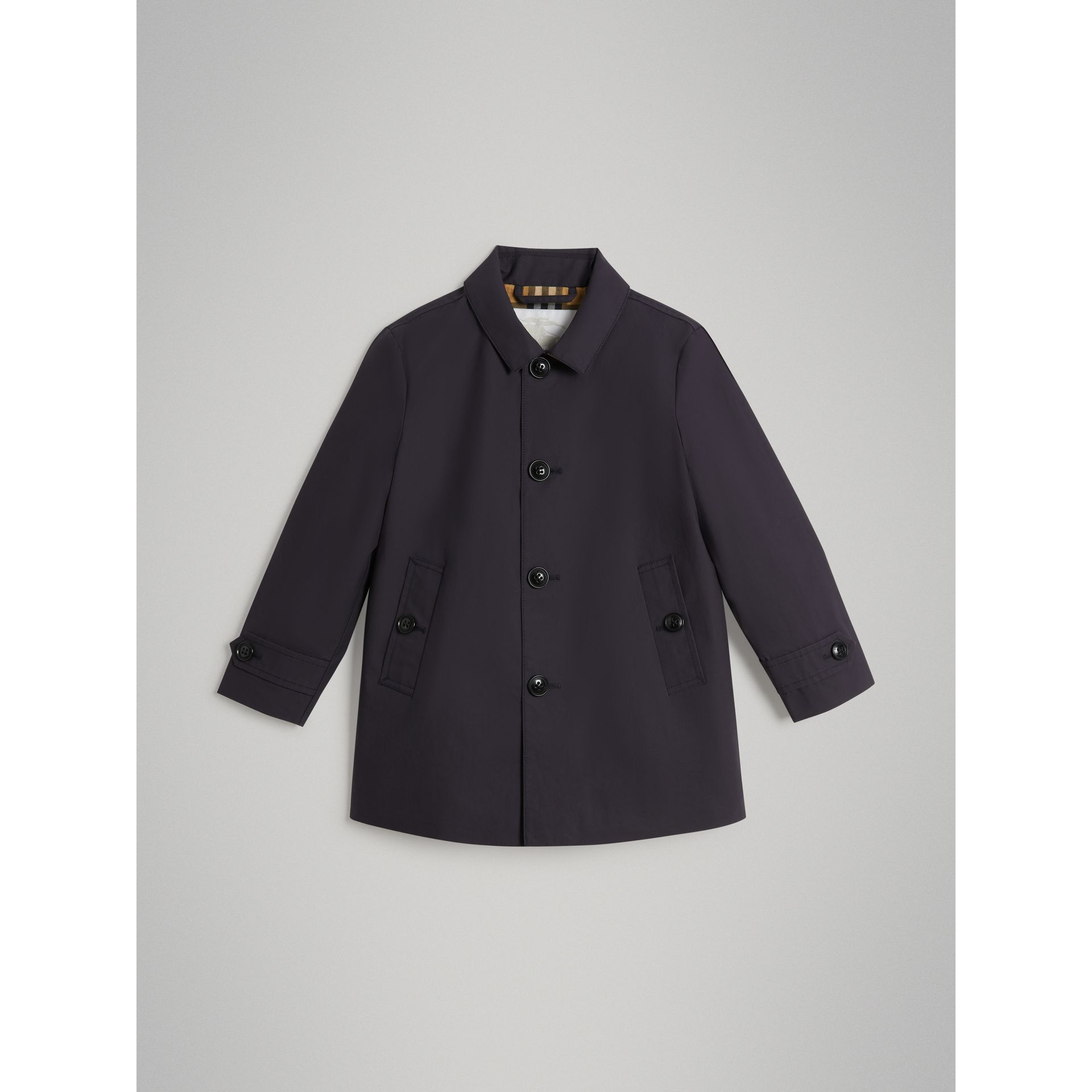 Mercerised Cotton Car Coat in Navy | Burberry - gallery image 0
