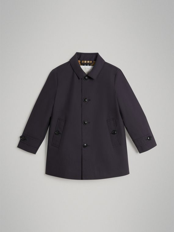Mercerised Cotton Car Coat in Navy