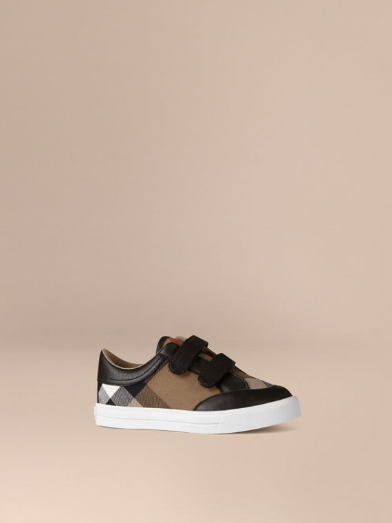 House Check and Leather Trainers Black