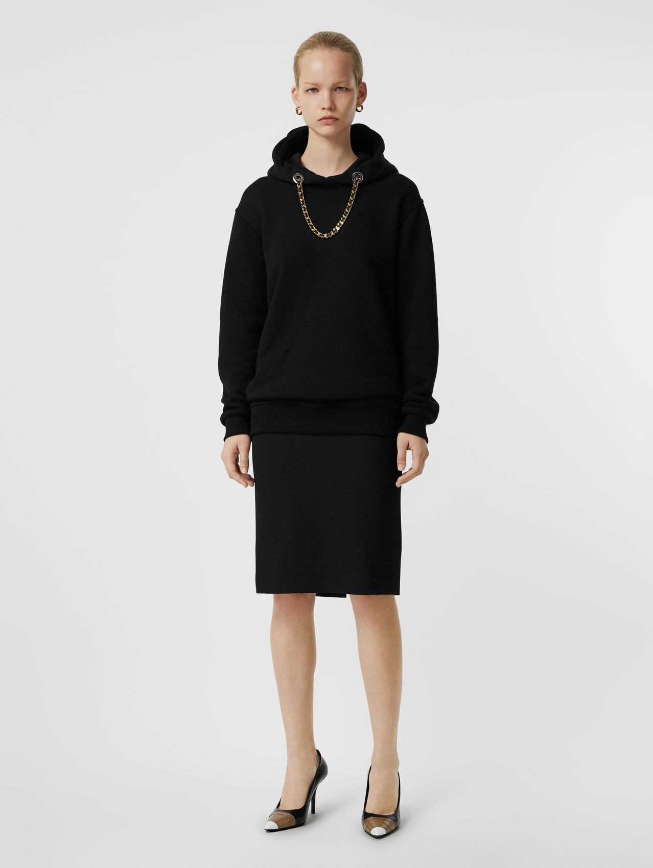 Chain Detail Cotton Oversized Hoodie in Black
