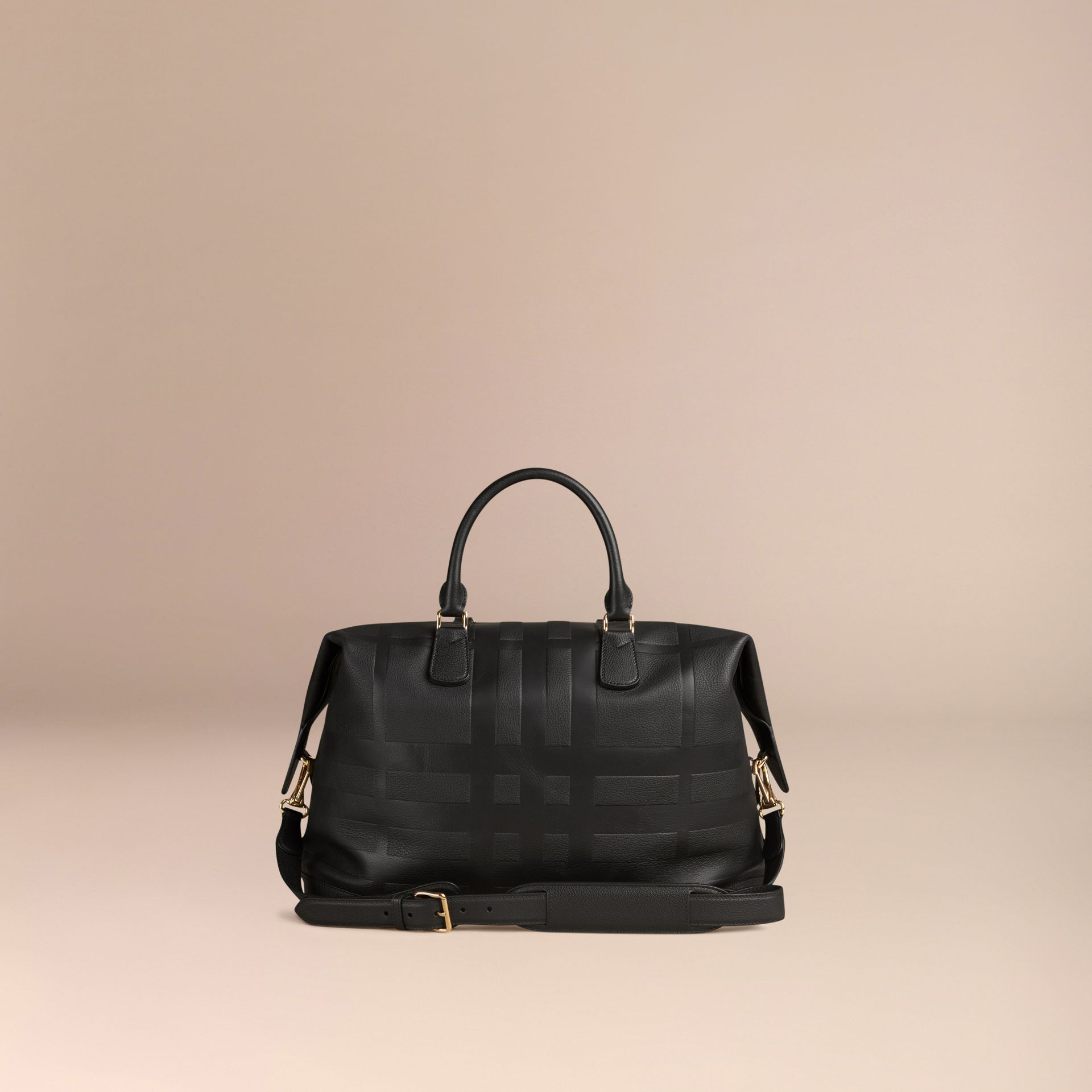Black Check Embossed Leather Holdall - gallery image 7