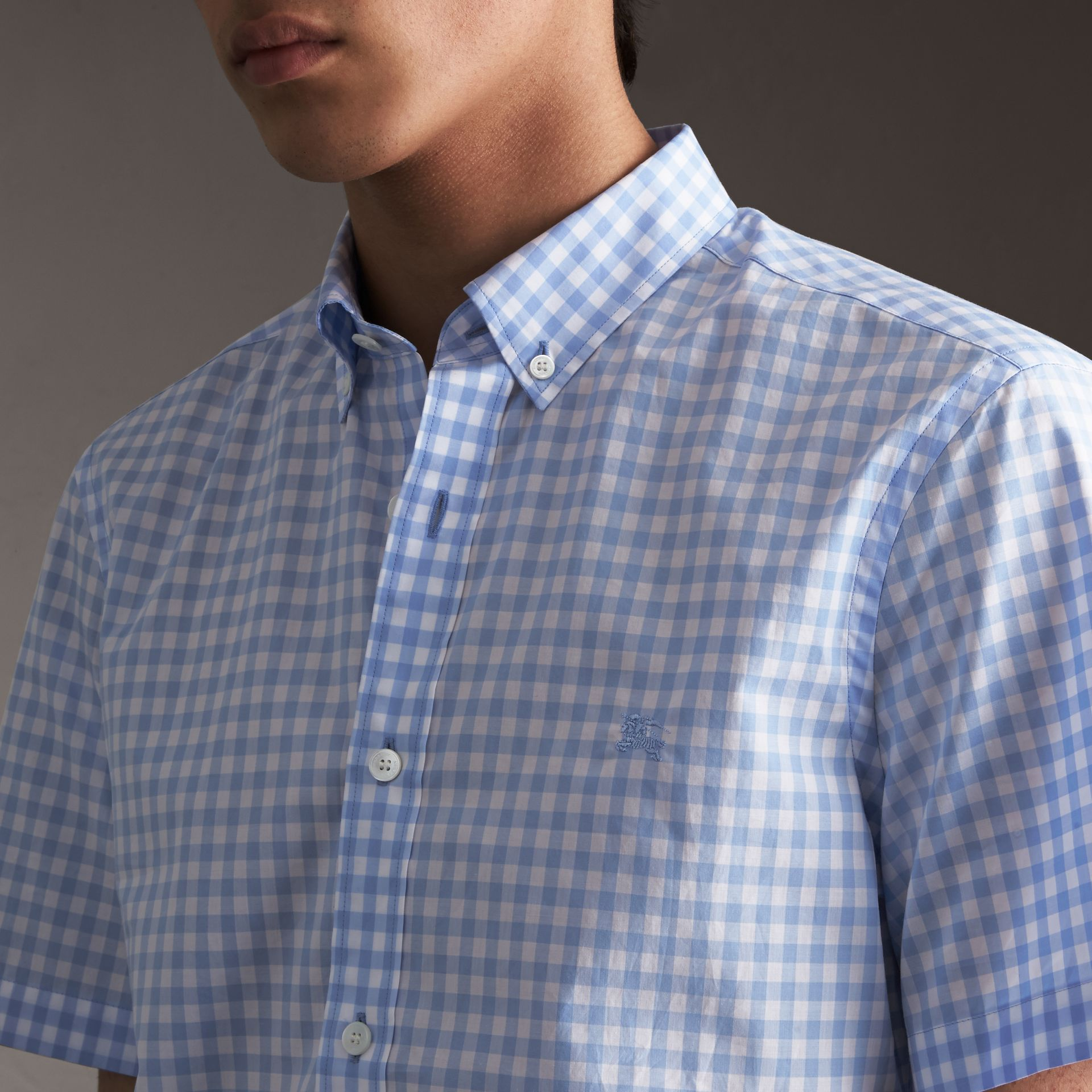 Short-sleeve Button-down Collar Cotton Gingham Shirt in Pale Blue - Men | Burberry Canada - gallery image 1