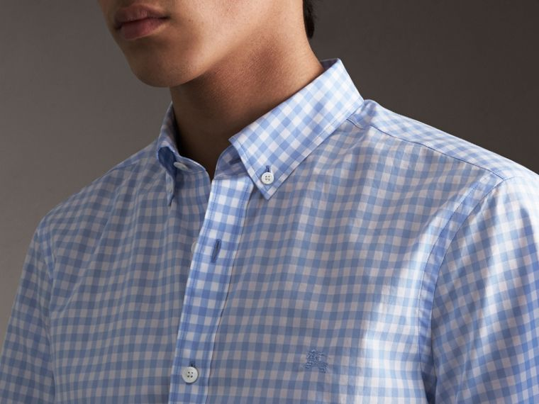 Short-sleeve Button-down Collar Cotton Gingham Shirt in Pale Blue - Men | Burberry United Kingdom - cell image 1