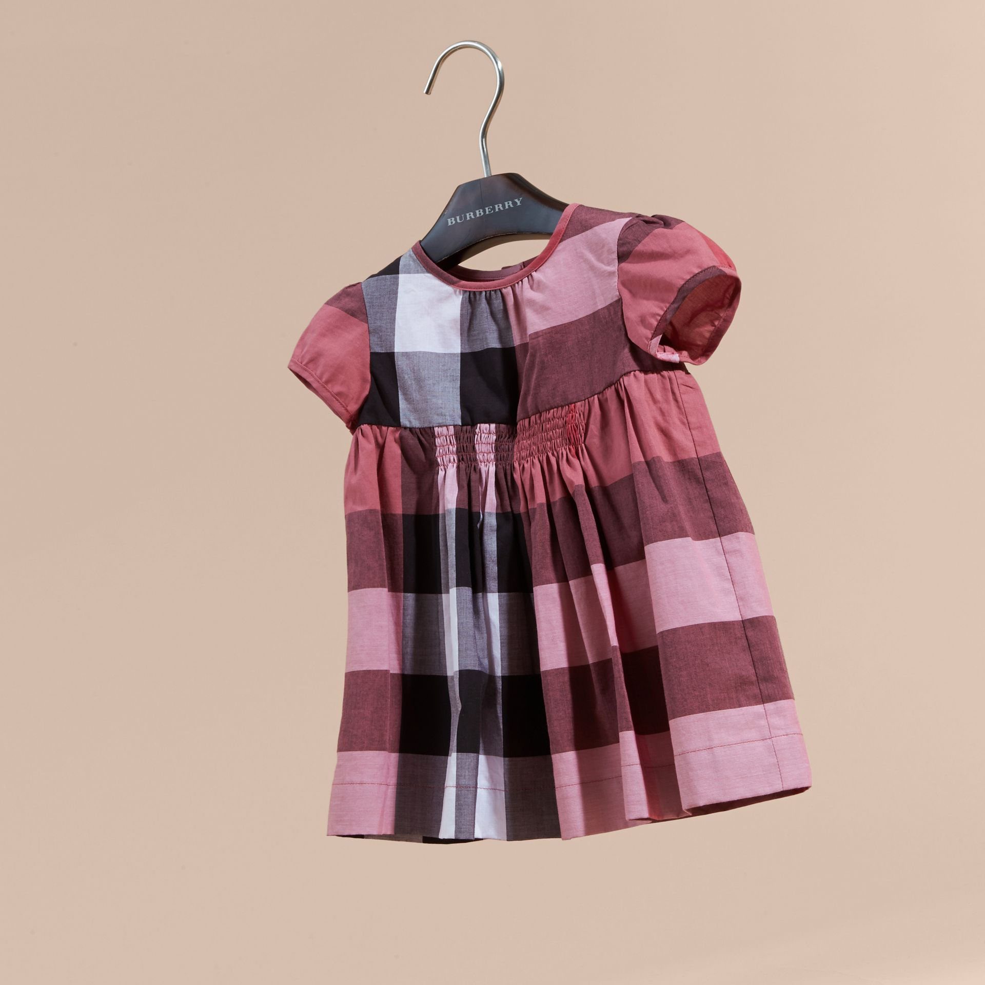 Cap-sleeved Check Cotton Voile Dress Pink Azalea - gallery image 3