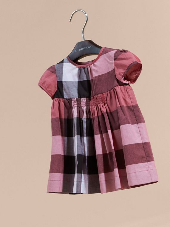 Cap-sleeved Check Cotton Voile Dress Pink Azalea - cell image 2